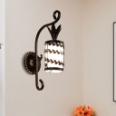 Rustic Flower/Leaf/Metal Frame Sconce Light 1 Bulb Opal Glass Wall Mounted Lighting in Black for Corridor
