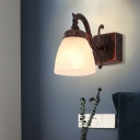 Opal Glass Dome Vanity Lighting Traditional 1/2/3 Lights Bathroom Sconce Light Fixture in Copper