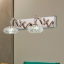 Bowl Clear Crystal Vanity Sconce Light Contemporary 2/3/4 Heads Gold Finish Wall Lamp, 13