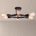 Round Semi Flush Light Industrial Metal 6 Lights Brass/Black Finish Ceiling Flush Mount with Open Bulb for Living Room