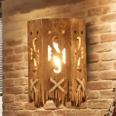 Industrial Carved Wall Mounted Lighting Wooden 1 Bulb Restaurant Wall Lighting Fixture in Brown