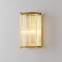 Rectangular Crystal Rod Sconce Lamp Postmodern 1/2 Lights Gold Wall Mounted Light for Living Room
