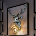 Brass Diamond Wall Light Fixture Vintage 1 Light Metal and Crystal Sconce Light with Deer Backplate, 14.5
