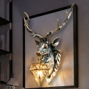 Deer Shape Bedroom Wall Light Resin 1 Light 16