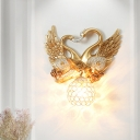 Swan Resin Wall Mount Light Antique Style 1 Light Gold Wall Sconce Light with Dome Crystal Shade