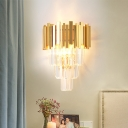 Gold 4 Tiers Sconce Light Fixture Modern 2 Heads Three Side Crystal Rod Wall Mount Light