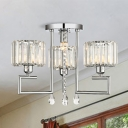 Modern 4/6-Head Semi Flush Mount Light Silver Drum Ceiling Light Fixture with Prismatic Crystal Shade and Droplets