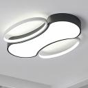 Bone Flush Mount Ceiling Light Modern Metal Black and White Led Living Room Ceiling Lamp, 19.5
