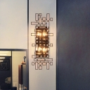 4 Lights Geometric Wall Light Fixture Minimalism Metal and Crystal Black Wall Mount Lamp for Living Room