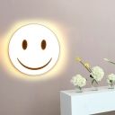 Round Flush Ceiling Light with Smile Emoji Led Mini Flushmount Lamp with Acrylic Shade