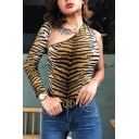 Sexy Long Sleeve Asymmetric Neck One-Shoulder Open Back Leopard-Printed Fitted Bodysuit for Women