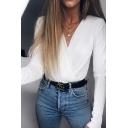 Women's Elegant Long Sleeve Deep V-Neck Ruched Basic Plain Wrap Blouse Bodysuit