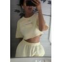Fashion Girls' Streetwear Short Sleeve MBMI Letter Zip Detail Beige Baggy Crop Top