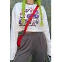 Street Cool Girls' Long Sleeve Crew Neck Cartoon Character&Letter Printed Flared Plain Crop T-Shirt