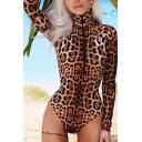 Hot Women's Long Sleeve High Neck Leopard Pattern Half Zip Slim Fit Bodysuit in Brown