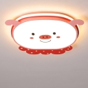 Blue/Pink Piggy Flush Mount Fixture Cartoon Stylish LED Acrylic Ceiling Mounted Light in Warm/White/3 Color Light