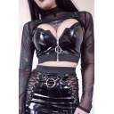Gothic Street Long Sleeve Mock Neck Mental Buckle Detail Black Mesh Sheer Fitted Crop T Shirt for Girls