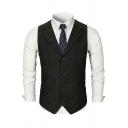Mens Chic Plain Herringbone Print Notch Lapel Sleeveless Casual Office Blazer Vest