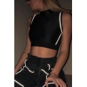 Cool Street Sleeveless High Neck Contrast Pipe Reflective Cotton Black Slim Crop Tank Top for Club Girls