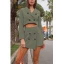 Elegant Ladies' Zip Back Button Detailed Fitted Short Wrap Skirt in Green