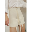 Ladies' Stylish Plain High Waist Lace Up Buckle Embellished Bodycon Mini Skirt