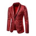 Men's Shiny Fashion Solid Color Gilded Folds Jacket Single Button Shawl Collar Party Gown Suit