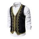 Mens New Trendy Gilded Trim V-Neck Slim Fitted Tuxedo Blazer Vest