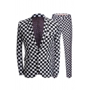 Mens Classic Black and White Checkerboard Pattern One Button Blazer & Pants Set