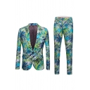 Mens Leisure Hawaii Style Leaf Pattern Single Button Blazer Coat and Pants Two Pieces Suit Set