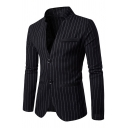 Mens Leisure Pinstriped Pattern Long Sleeve Double Button Fitted Suit Blazer