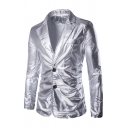 Metrosexual Mens Popular Notched Lapel Double Button Solid Color Nightclub Suit Blazer