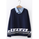 Preppy Chic Patched Collar Long Sleeves Christmas Tree and Elk Pattern Oversided Sweatshirt