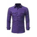 Simple Plain Long Sleeves Single Breasted Flap Pocket Slim Fitted Teen Shirt
