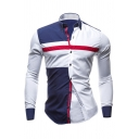 Mens Simple Contrast Stripes Print Long Sleeve Single Breasted Slim Fitted Fashion Shirt