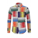 Mens Funny Geometric Pattern Long Sleeve Slim Fit Button Up Colorful Shirt