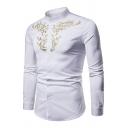 Retro Embroidered Pattern Front Band Collar Long Sleeve Button Up Shirt for Men