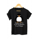 Girls Cute Letter PENGUINS CANT FIY Print Short Sleeve Casual Graphic T-Shirt