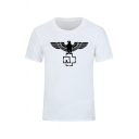 Mens Stylish Eagle Spreads Wings Pattern Short Sleeve Crew Neck Leisure T-Shirt