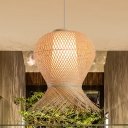 Handmade Bamboo Hanging Ceiling Light Asian Modern Single Light Pendant Lamp in Beige, 12