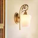 Tulip Shape Living Room Wall Lamp Colonialism Milk Glass 1 Head Brass Wall Mounted Light