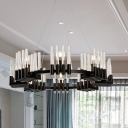 Black Circular Chandelier Lamp Contemporary 6/8 Lights Iron Ceiling Light Fixture with Crystal Tubes