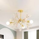 Metal Sputnik Chandelier Lamp Contemporary 3 Lights Golden Pendant Light Kit with Star Accent