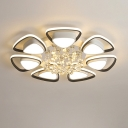 LED Petal Ceiling Flush Mount Contemporary Metal Black and White Indoor Light Fixture with Crystal Draping, Warm/White Light