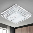 LED Ceiling Light Modern White Flush Mount Light with Rectangle/Square Crystal Rod and Acrylic Shade, 18.5