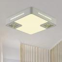 Square Ceiling Lamp Minimalist Acrylic White LED Flush Mounted Light with Crystal Beaded Decoration