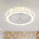 LED Flush Light Simple Scalloped Crystal Ceiling Flush Mount in White for Bedroom