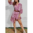 Female Vintage Ethnic Bell Sleeve Lapel Collar Floral Print Button Down Oversize Midi Boho Dress in Pink