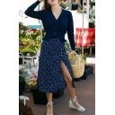 Glamorous Ladies' Mid Rise Floral Print Bow Tie Waist Button High Slit Side Plain Midi Wrap A-Line Skirt