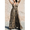 Sexy Ladies Sleeveless Halter Leopard Print Ruffled Trim Bow Tie Maxi Pleated Flowy Cami Dress