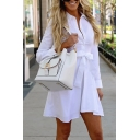 Elegant Stylish Ladies' Long Sleeve Lapel Collar Button Down Bow Tie Waist Pleated Short A-Line Shirt Dress in White